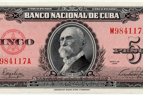 1949CUBA 5 PESOS UNCIRCULATED # SERIES ROJO ESCASO.