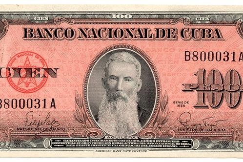 1959 CUBA 100 PESOS ##raro#B 800031A UNCIRCULATED AGUILERA.