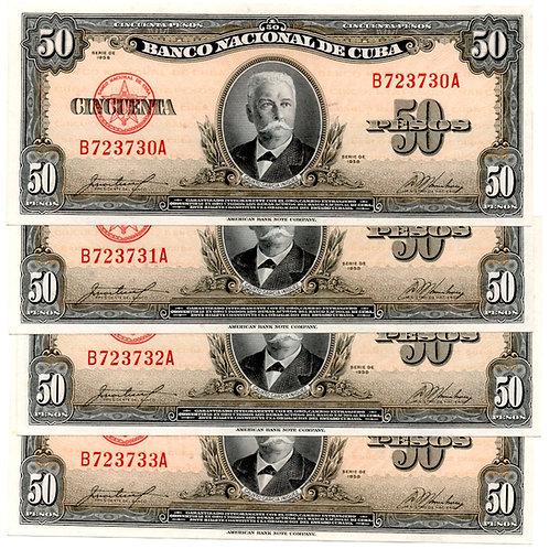 CUBA LOTE DE 4 BILLETES 1958 # CONSECUTIVOS  SUPER GRADO .