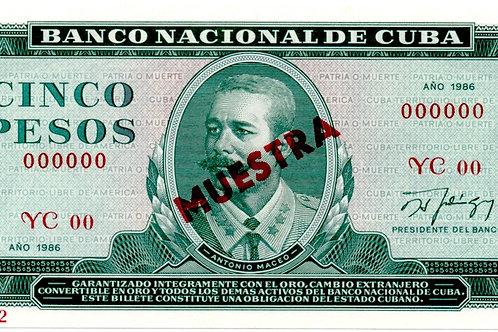 1986MUESTRA CUBA 5 PESOS UNCIRCULATED BANCO NACIONAL.