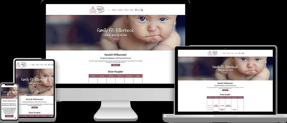 Webdesign für ein Familien Fitness Studio in Billereck mit Online-Shop zum Buche von Kursen
