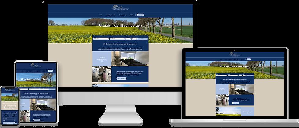 Website Design für die Ferenhäuser Baumberge mit Anbindung an Buchungskalnder