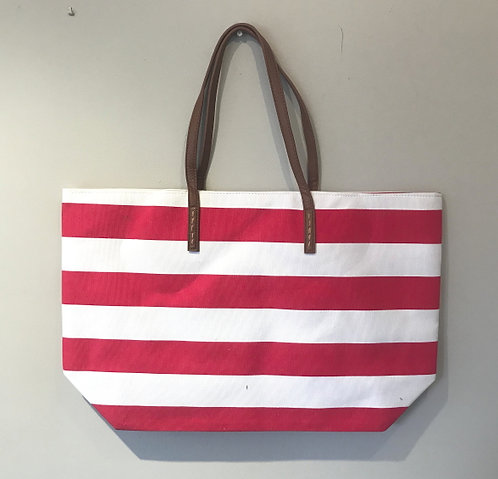Large Red and White Striped Beachbag