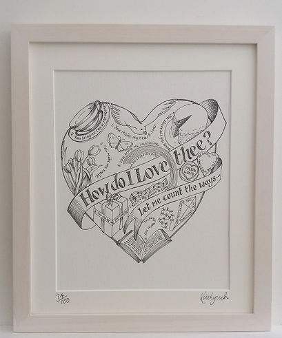 Limited edition How Do I Love You print by Kim Lynch