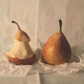 Oil painting of pears by Kate Verrion. Original work by Kate Verrion at Waterside Galery St Ives. Waterside Gallery affordable art gallery