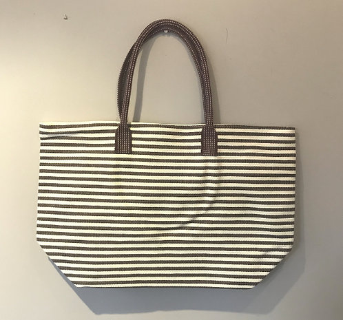Large Brown and White Striped Beach Bag