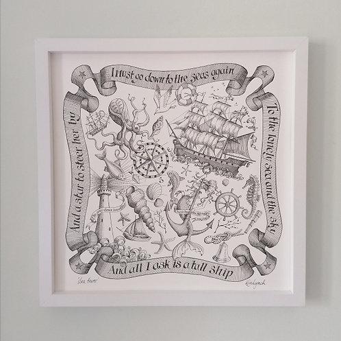 Sea Fever Medium Print (White Frame)