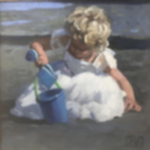 original oil painting by sherree valentine daines of a girl playing with a bucket and spade