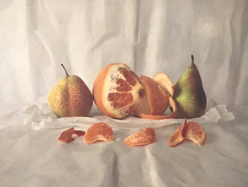 Peeled Orange and Pears