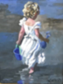 Sherree Valentine Daines original painting of a young girl at the seaside. Sherree Valentine Daines is one of the foremost impressionist painters in Britain today. Her work is highly collected.
