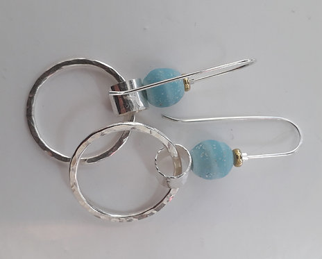 Silver Double Hoop, Blue Java Glass