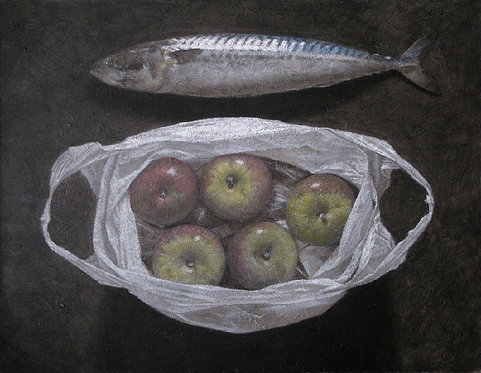 Mackerel and Plastic Bag of Apples