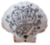 Kim Lynch scallop shell artwork. Pen and ink drawing on a scallop shell. Scrimshaw.