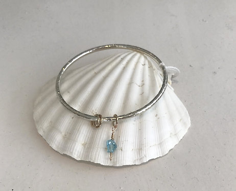 Silver Bangle with Topaz Nugget