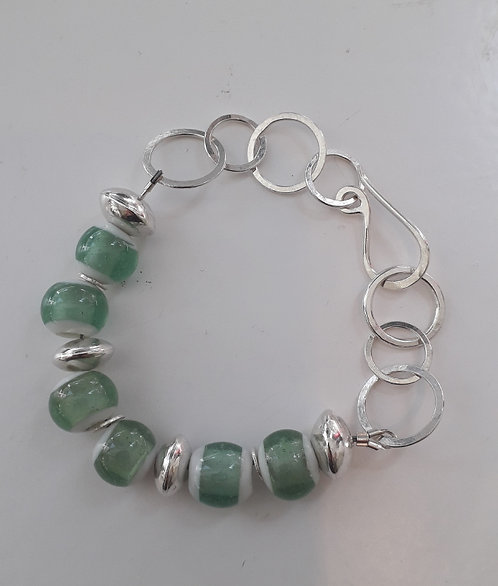 Indonesian Green Glass Bracelet