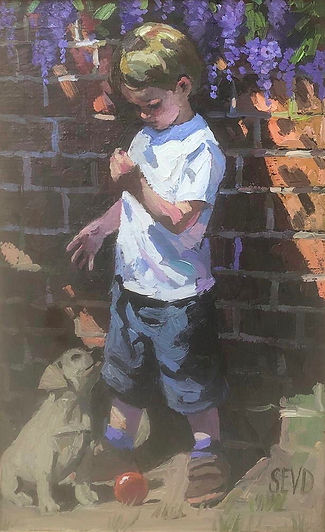 sherree valentine daines original painting of a boy with his pet dog.