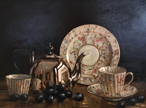 Teapot with White China and Grapes