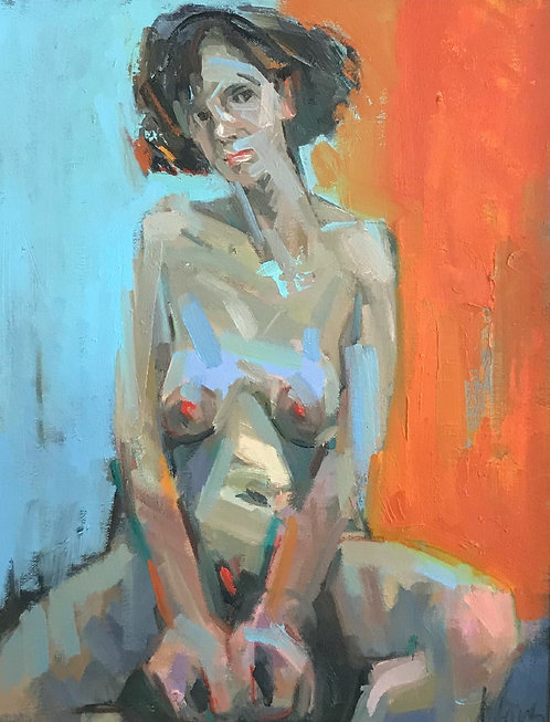 Nude with Orange and Blue
