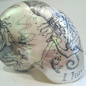 Kim Lynch scallop shell artwork. Pen and ink drawing on a nautilus shell. Scrimshaw.