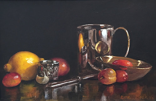 Silver Goblet, Lemons and Plums