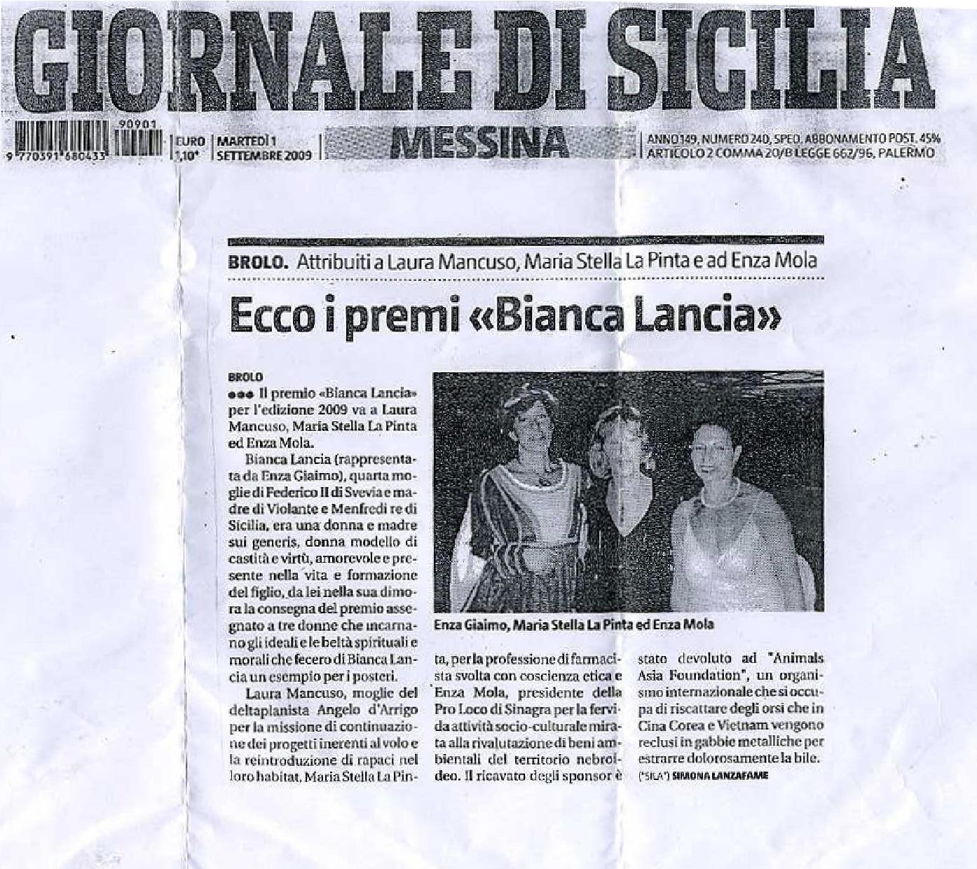 Giornale di Sicilia 1 09 2009