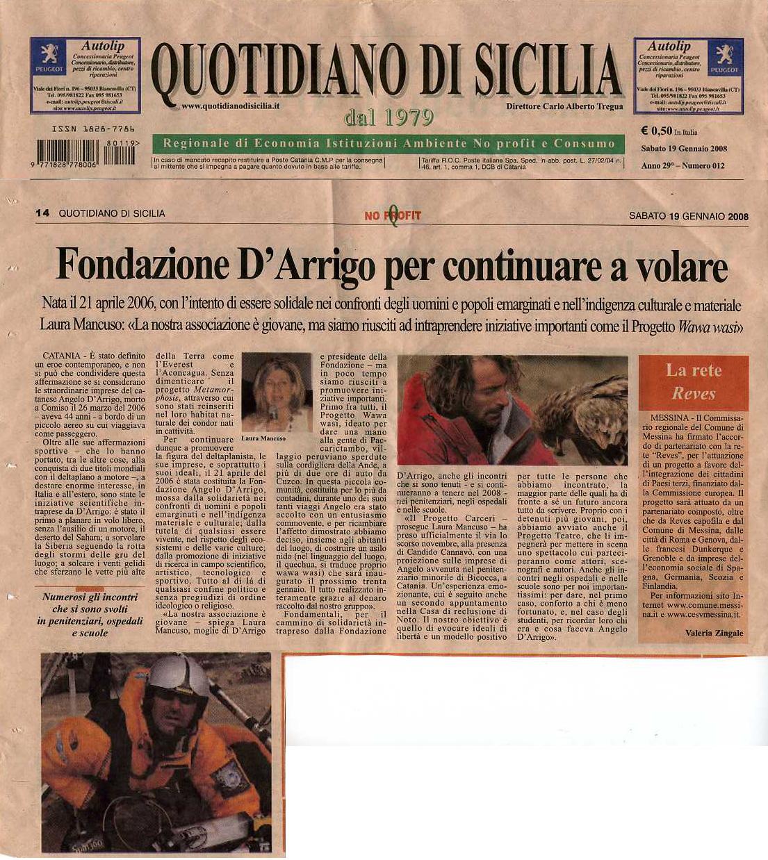 Quotidiano di Sicilia 19 gennaio 2008 articolo