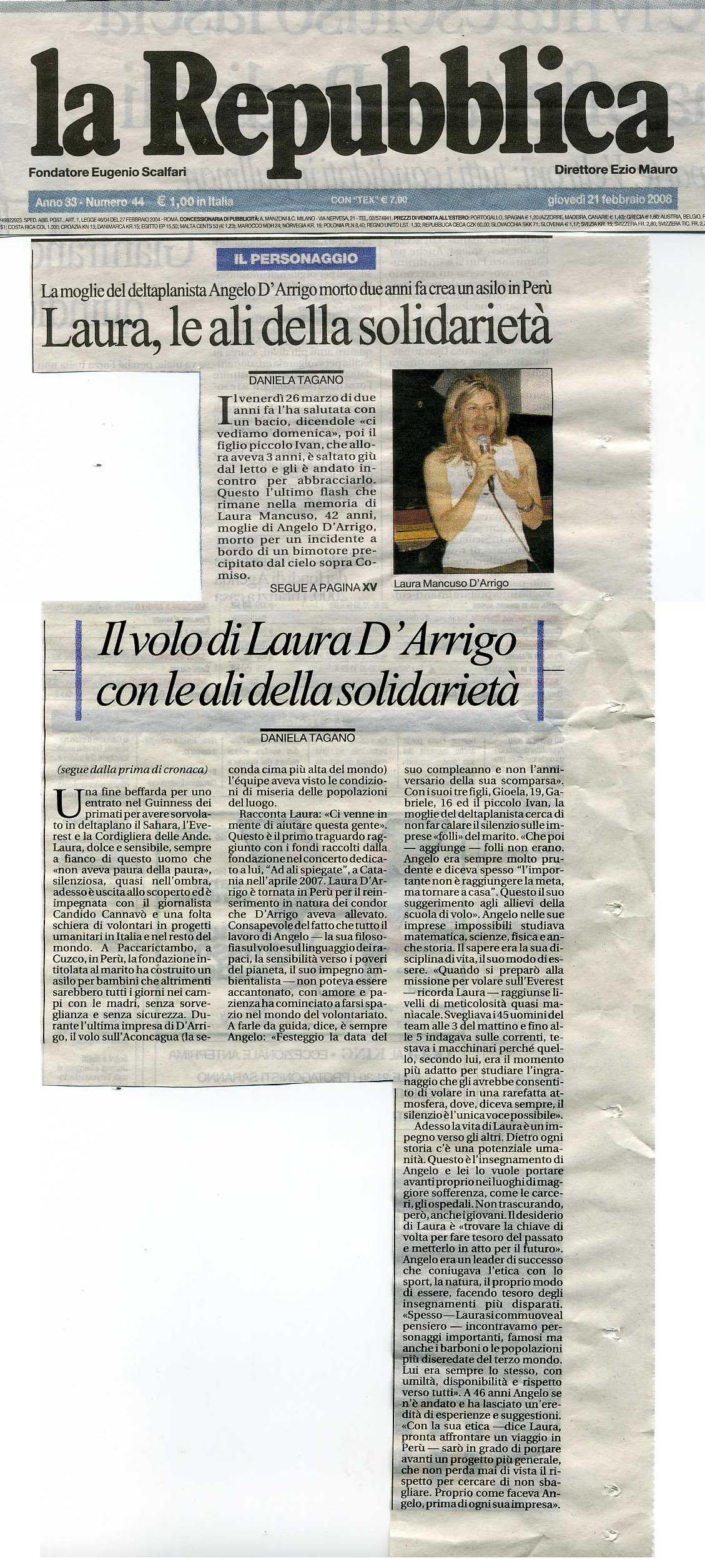 la Repubblica 21 febbraio 2008 articolo