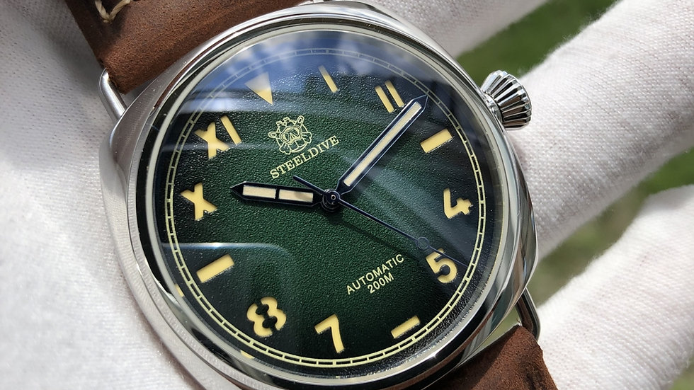 "STEELDIVE SD1936 ""Green California""Automatic 200m Diver Watch"