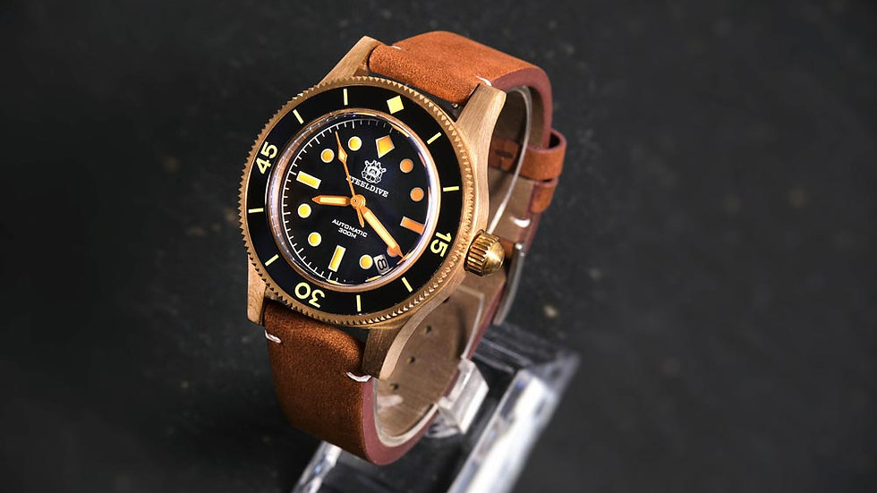 """STEELDIVE SD1952S """"Fifty Fathoms""""Bronze Automatic 300m Diver Watch"""
