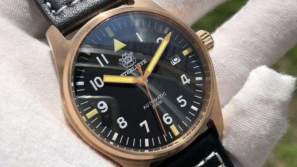 "STEELDIVE SD1940 ""Bronze Pilot Mark Xviii"" Automatic 200m Diver Watch"