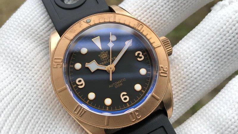 "STEELDIVE SD1958S""Bronze Black Bay"" Automatic 200m Diver Watch"