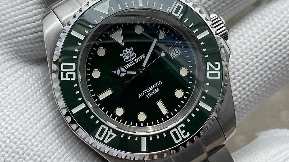 "STEELDIVE SD1964 ""Green Sea-Dweller"" Automatic 1000m Diver Watch"