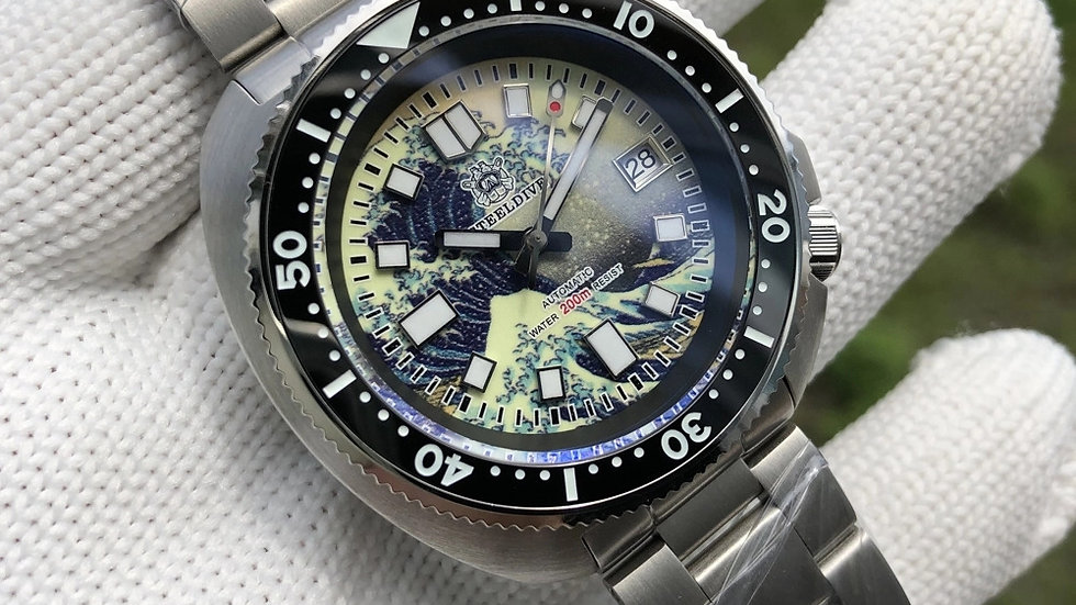 """STEELDIVE SD1970J """"Great Wave Turtle"""" Automatic 200m Diver Watch"""