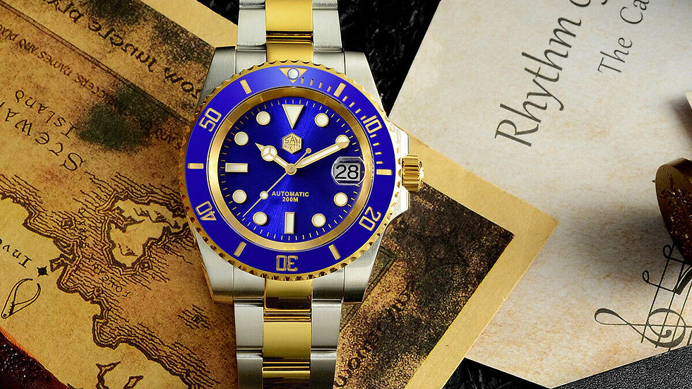 SAN MARTIN SN017-G V3 SUBMARINER BLUE/GOLD AUTOMATIC DIVE WATCH