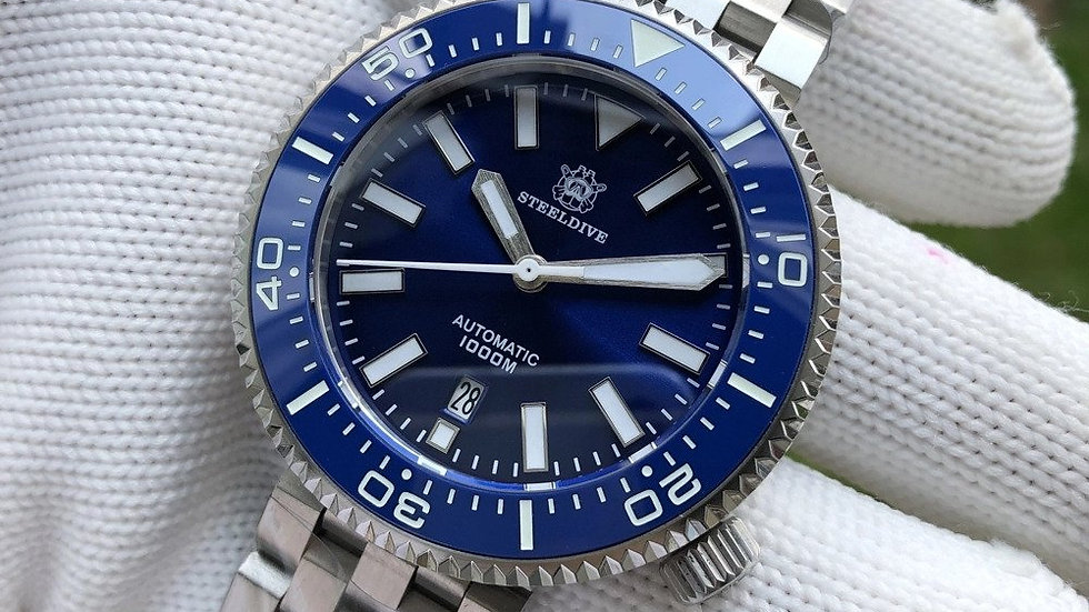 """STEELDIVE SD1976""""Blue Halios Puck"""" Automatic 1000m Dive"""