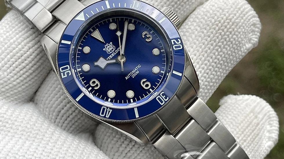 "STEELDIVE SD1958""Blue Tudor Black Bay"" Automatic 200m Diver Watch"