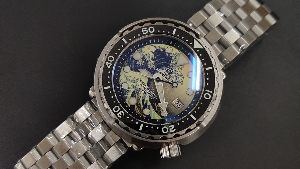 "STEELDIVE SD1975 ""Great Wave Kanagawa Tuna""*STERILE* Automatic 300m Diver Watch"