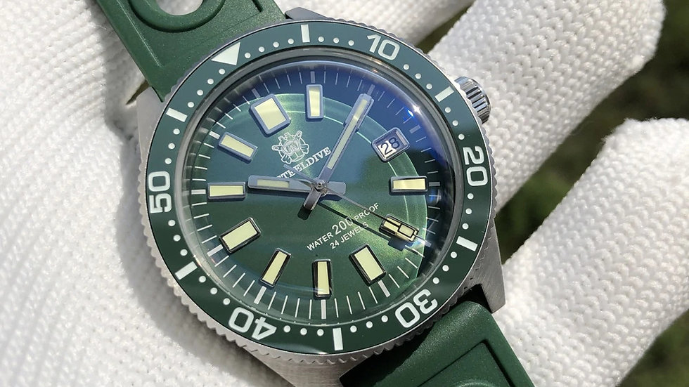 "STEELDIVE SD1962 ""GREEN 62MAS"" Automatic 200m Diver Watch"
