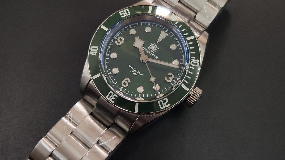 "STEELDIVE SD1958""Green Tudor Black Bay"" Automatic 200m Diver Watch"