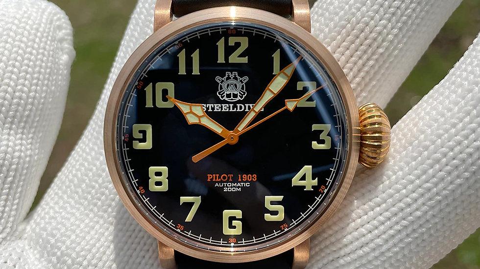 """STEELDIVE SD1903S """"Bronze Pilot"""" Automatic 200m Diver Watch"""