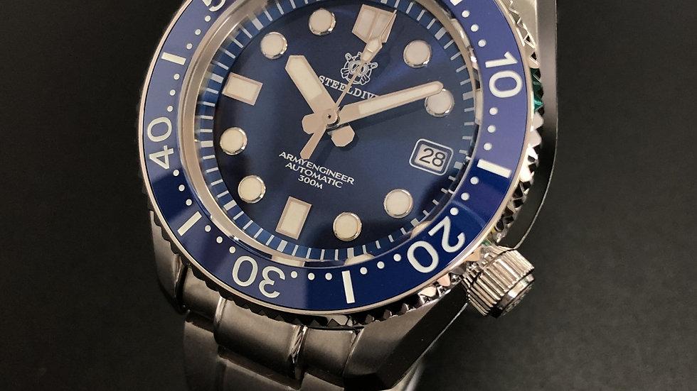 """STEELDIVE SD1968 """"Blue MM 300 Monobloc"""" 300m Automatic Diver Wat"""