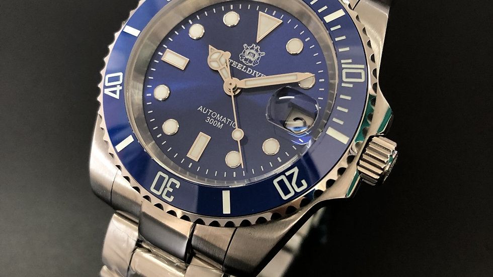 "STEELDIVE SD1953 ""Submariner Smurf"" Automatic 200m Diver Watch"