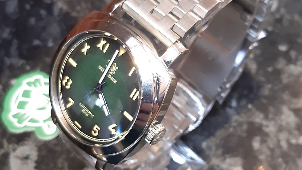 "STEELDIVE SD1938 ""Green Radiomir""Automatic 200m Diver Watch"