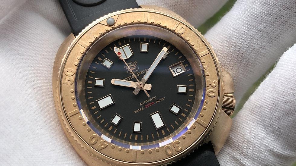 "STEELDIVE SD1970 ""Bronze Bezel Turtle"" Automatic 200m Diver Watch"