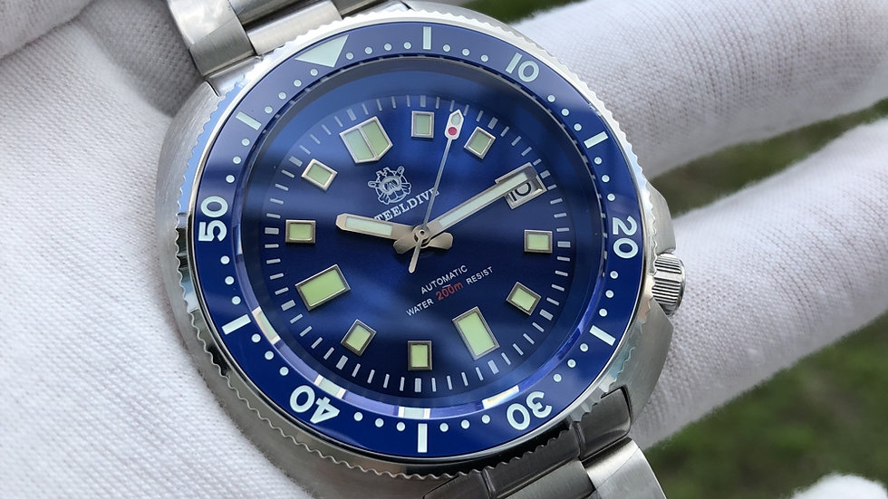 "STEELDIVE SD1970 ""Blue Turtle"" Automatic 200m Diver Watch"