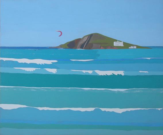 Burgh Island with kite surfer