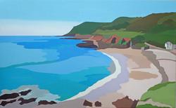 Lannacombe, a quiet day, Hazel Strange 65 x 40cm oil on canvas