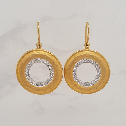 Chantal 18ct yellow gold hook earrings with hammer beaten disks set with diamonds in Melbourne