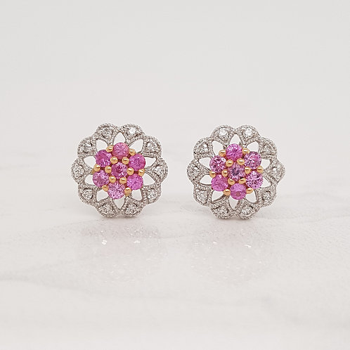 Gracie white gold pink sapphire and diamond flower studs