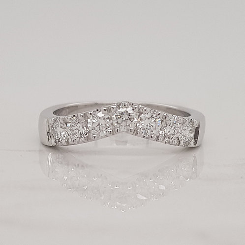 Sophie white gold claw set vee stack wedding eternity ring in Melbourne
